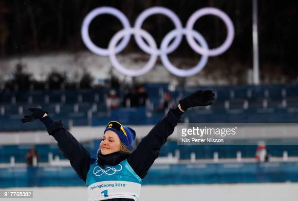Stina Nilsson of Sweden celebrates after the victory during the Womens Individual Sprint Classic Finals on day four of the PyeongChang 2018 Winter...