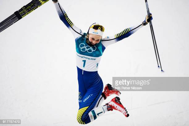 Stina Nilsson of Sweden celebrates after the victoryduring the Womens Individual Sprint Classic Finals on day four of the PyeongChang 2018 Winter...