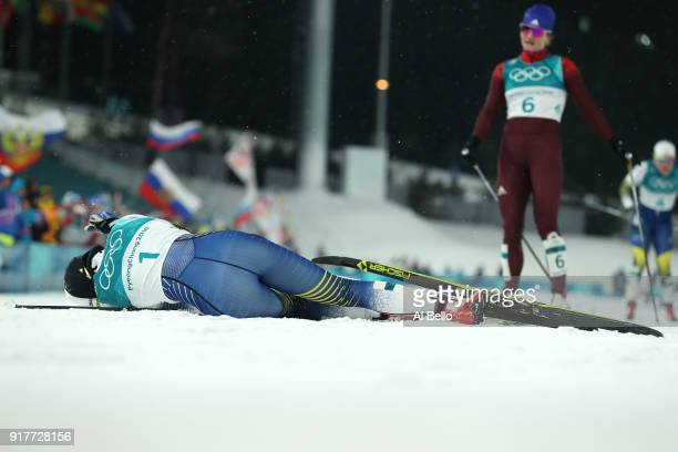 Stina Nilsson of Sweden celebrates winning gold during the CrossCountry Ladies' Sprint Classic Final on day four of the PyeongChang 2018 Winter...