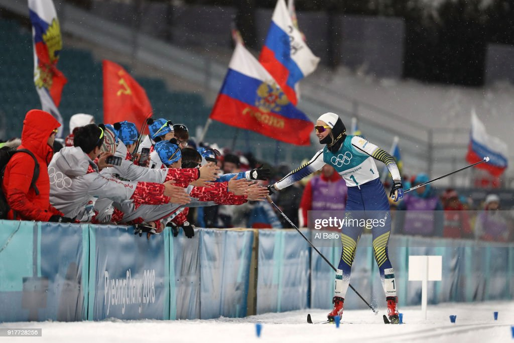 Stina Nilsson of Sweden celebrates winning gold during the Cross-Country Ladies' Sprint Classic Final on day four of the PyeongChang 2018 Winter Olympic Games at Alpensia Cross-Country Centre on February 13, 2018 in Pyeongchang-gun, South Korea.