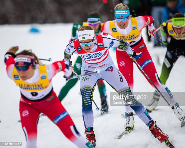 Stina Nilsson of Sweden competes in the sprint quarterfinal heat during the FIS Cross Country Ski World Cup Final on March 22 2019 in Quebec City...
