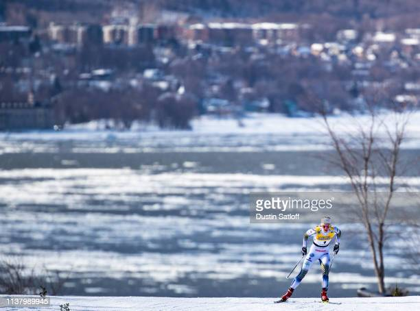 Stina Nilsson of Sweden competes in the Women's 10km freestyle pursuit during the FIS Cross Country Ski World Cup Final on March 24 2019 in Quebec...