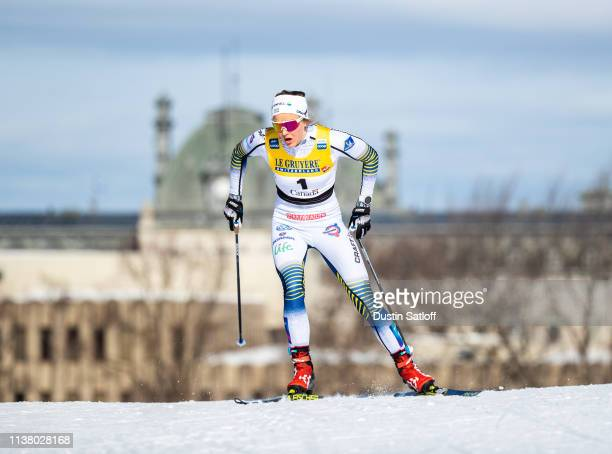 Stina Nilsson of Sweden competes in the Women's 10km freestyle pursuit during the FIS Cross Country Ski World Cup Final on March 24, 2019 in Quebec...