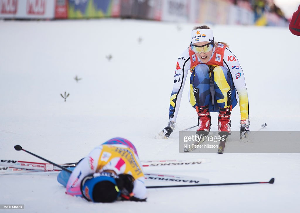 Stina Nilsson of Sweden crosses the finishing line during the women's 9 km F Pursuit on January 8, 2017 in Val di Fiemme, Italy.
