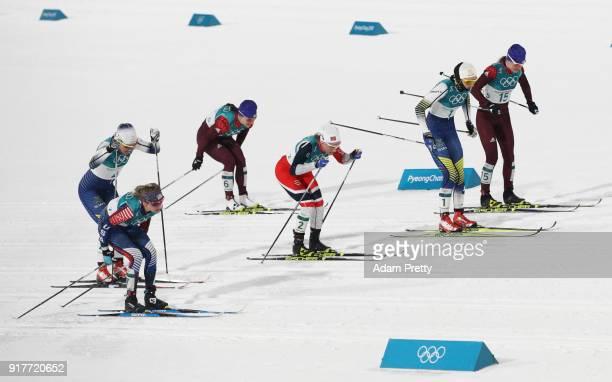 Stina Nilsson of Sweden Maiken Caspersen Falla of Norway Yulia Belorukova of Olympic Athlete from Russia Natalia Nepryaeva of Olympic Athlete from...