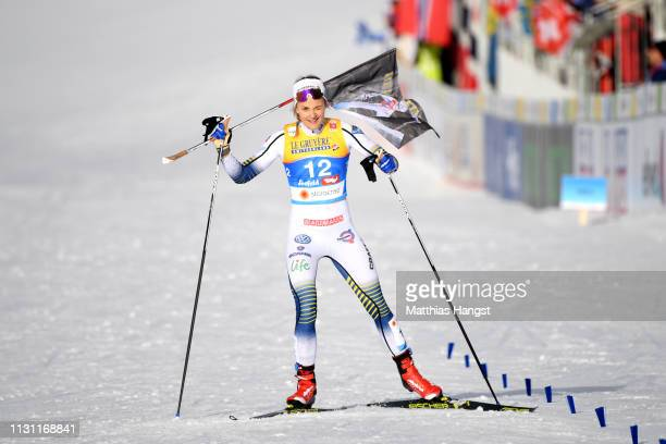 Stina Nilsson of Sweden makes her way to the finish line to claim her Silver medal during the Women's Cross Country Sprint Final at the Stora Enso...