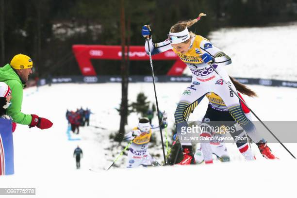 Stina Nilsson of Sweden takes 2nd place during the FIS Nordic World Cup Men's and Women's Cross Country Sprint on November 30 2018 in Lillehammer...