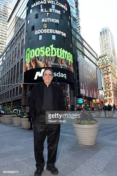 L Stine author of Goosebumps visits the NASDAQ Opening Bell in celebration of Halloween and 'Goosebumps' at NASDAQ on October 30 2015 in New York City