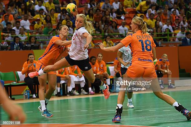 Stine Bredal Oftedal shoots the ball during the Women's Handball Bronze medal match between Netherlands and Norway at Future Arena on Day 15 of the...