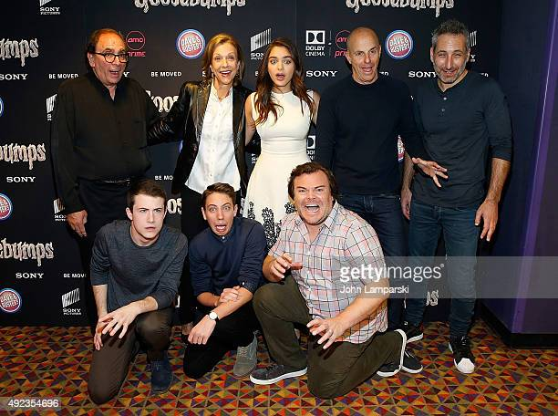 L Stine Odeya Rush Rob letterman Dylan Minnette Ryan LeeJack Black and guests attend 'Goosebumps' New York premiere at AMC Empire 25 theater on...
