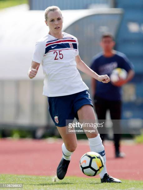 Stine Hovland of Norway Women during the Algarve Cup Women match between China PR v Norway at the Estadio Municipal de Albufeira on March 1, 2019 in...