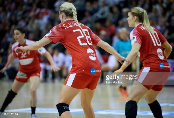 Stine Jorgensen and Kathrine Heindahl of Denmark in action during the 2018 Women European Championship Qualification 2 match between Denmark and...