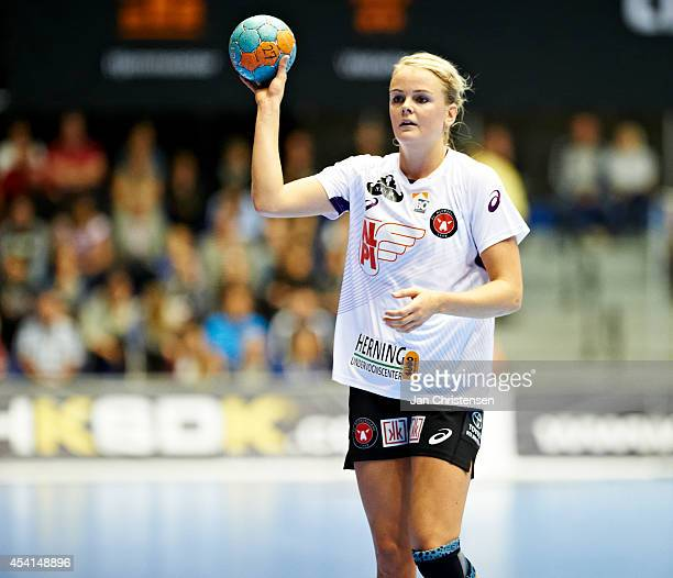 Stine Jorgensen of FC Midtjylland in action during the Super Cup Final between Viborg HK and FC Midtjylland in Gigantium on August 22 2014 in Aalborg...