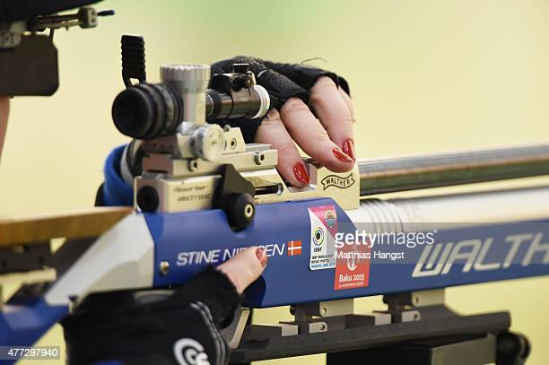 Stine Nielsen of Denmark reloads in the Women's 10m Air Rifle during day four of the Baku 2015 European Games at Baku Shooting Centre on June 16 2015...