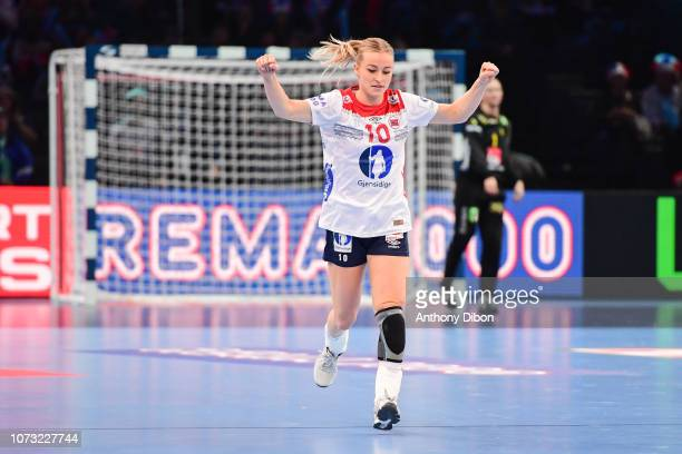 Stine Oftedal of Norway celebrates during the EHF Euro match between Sweden and Norway on December 14 2018 in Paris France