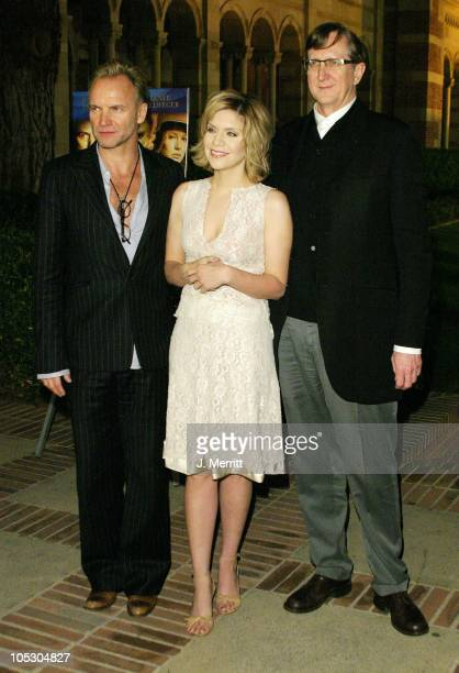 Sting Alison Krauss and TBone Burnett during The Words And Music Of 'Cold Mountain' at UCLA Royce Hall in Los Angeles California United States