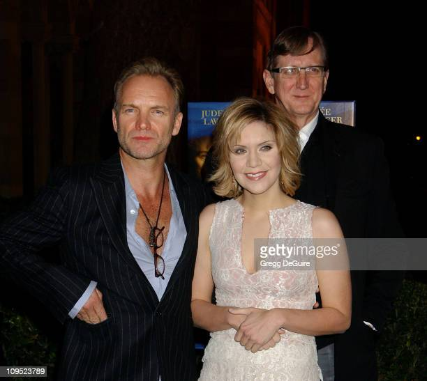 Sting Alison Krauss and TBone Burnett during The Words and Music of Cold Mountain at Royce Hall in Westwood California United States