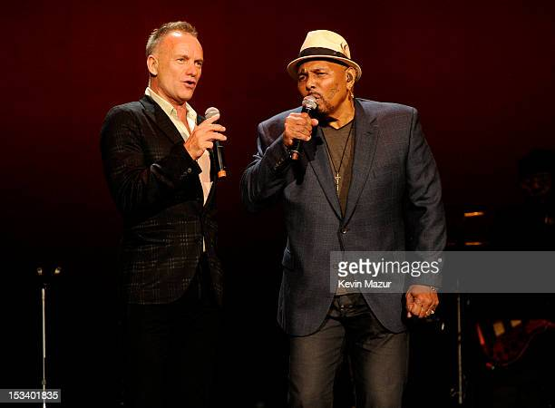 Sting and Aaron Neville perform on stage at the Children's Health Fund 25th Anniversary Concert at Radio City Music Hall on October 4 2012 in New...