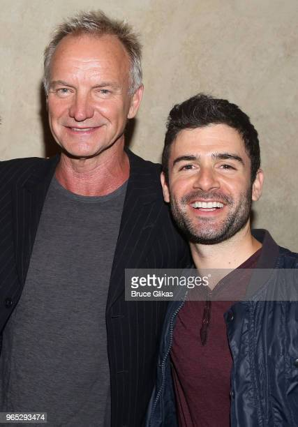 Sting and Adam Kantor pose backstage at the hit musical 'The Band's Visit' on Broadway at The Barrymore Theatre on May 31 2018 in New York City