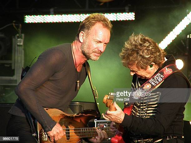 Sting and Andy Summers of The Police perform on stage on Day 2 of 'Hard Rock Calling' on June 29th 2008 in Hyde Park London England This was the...
