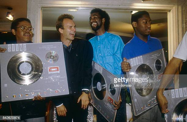 Sting and band members Kenny Kirkland Omar Hakim and Branford Marsalis are in Paris to receive a Disque d'Or for their new release Dream of the Blue...
