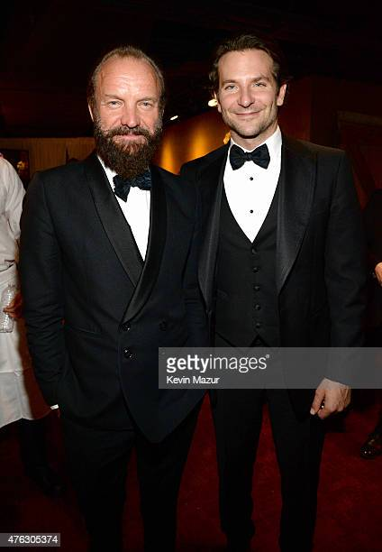Sting and Bradley Cooper attend the 2015 Tony Awards at Radio City Music Hall on June 7 2015 in New York City