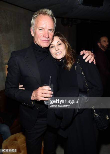 Sting and Gina Gershon attend The Cinema Society Bluemercury Host The Premiere Of IFC Films' Freak Show After Party at Public Arts on January 10 2018...