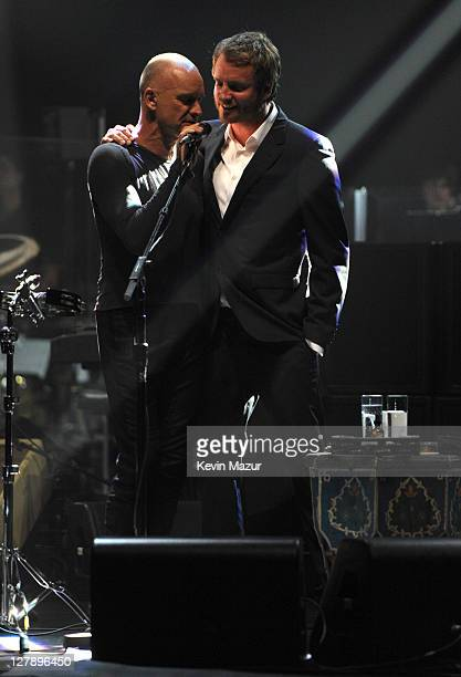 Sting and Joe Sumner perform on stage during STING 25th Anniversary/60th Birthday Concert to Benefit Robin Hood Foundation at Beacon Theatre on...