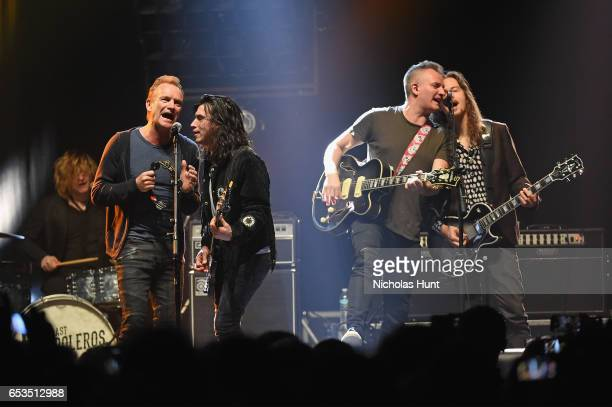 Sting and Joe Sumner perform onstage with The Last Bandoleros during the Sting 57th 9th World Tour at Hammerstein Ballroom on March 14 2017 in New...