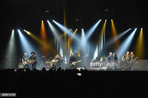 """Sting and Joe Sumner perform onstage with The Last Bandoleros during the Sting """"57th & 9th"""" World Tour at Hammerstein Ballroom on March 14, 2017 in..."""