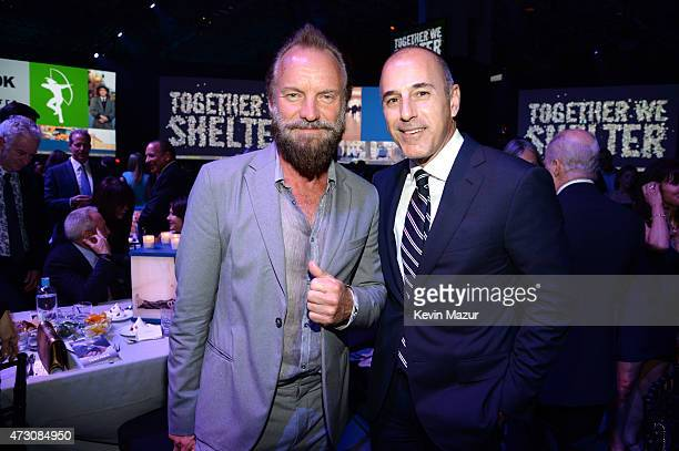 Sting and Matt Lauer attend The Robin Hood Foundation's 2015 Benefit at Jacob Javitz Center on May 12 2015 in New York City