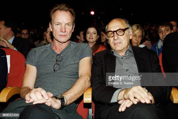 Sting and Michael Nyman are seen at the 'Ian McKellen meets the audience' during the 12th Rome Film Fest at Auditorium Parco Della Musica on November...
