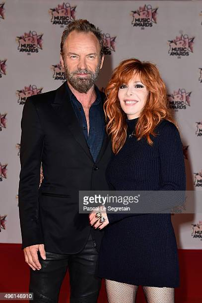 Sting and Mylene Farmer attend the 17th NRJ Music Awards at Palais des Festivals on November 7 2015 in Cannes France