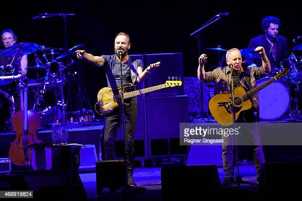 Sting and Paul Simon perform live on stage at Oslo Spektrum on March 19 2015 in Oslo Norway