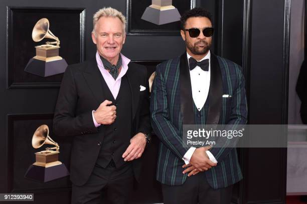 Sting and Shaggy attends the 60th Annual GRAMMY Awards Arrivals at Madison Square Garden on January 28 2018 in New York City