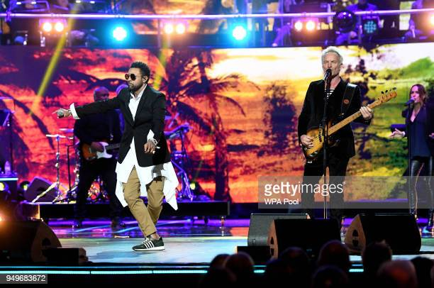 Sting and Shaggy perform at the Royal Albert Hall for a starstudded concert to celebrate the Queen's 92nd birthday on April 21 2018 in London England...