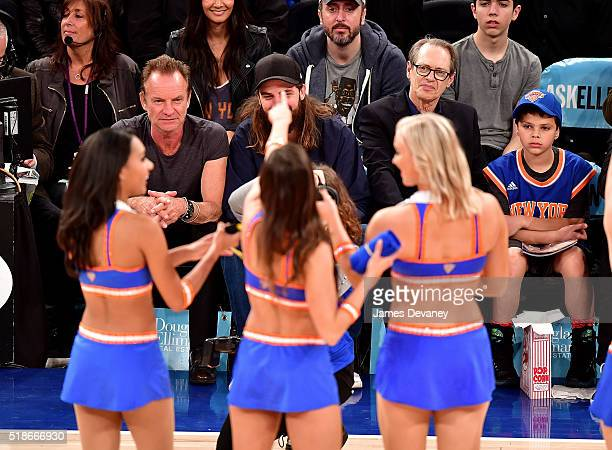 Sting and Steve Buscemi attend the Brooklyn Nets vs New York Knicks game at Madison Square Garden on April 1 2016 in New York City