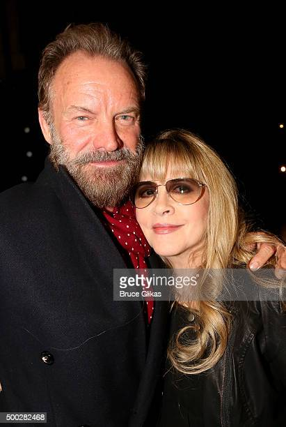Sting and Stevie Nicks pose at the Opening Night of 'School of Rock' on Broadway at The Winter Garden Theatre on December 6 2015 in New York City