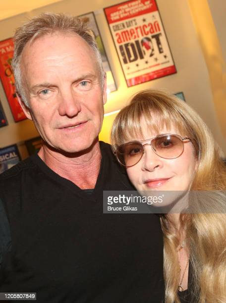 """Sting and Stevie Nicks pose backstage at the musical """"The Last Ship"""" at The Ahmanson Theatre on February 11, 2020 in Los Angeles, California."""