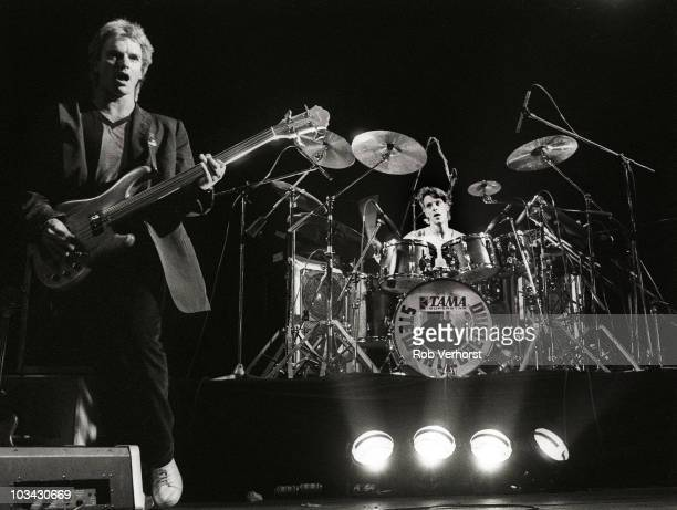 Sting and Stewart Copeland of The Police perform on stage at Ahoy on 10th April 1980 in Rotterdam Netherlands