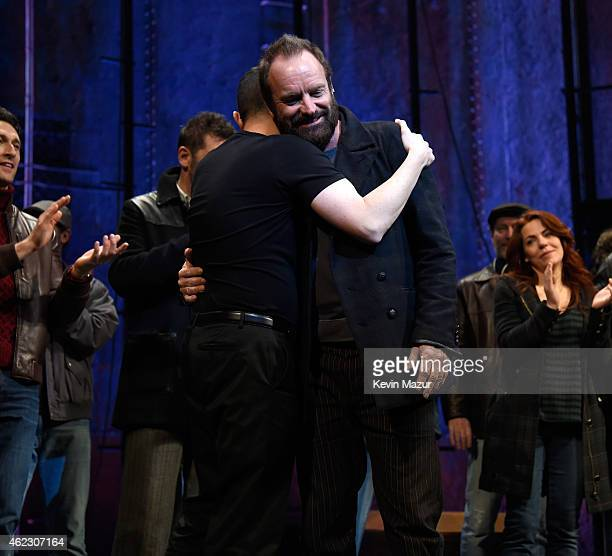 Sting and the cast of 'The Last Ship' performs on stage during 'The Last Ship Final Curtain Call' at Neil Simon Theatre on January 24 2015 in New...