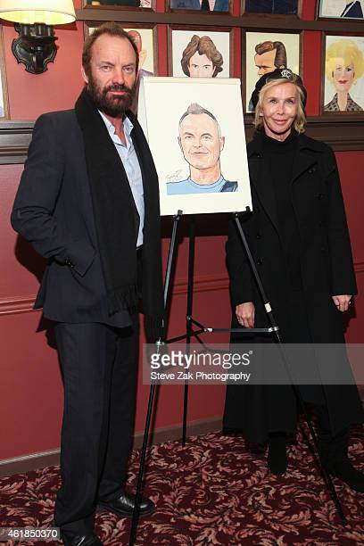 Sting and Trudie Styler attend Sting's Caricature Unveiling at Sardi's on January 20 2015 in New York City