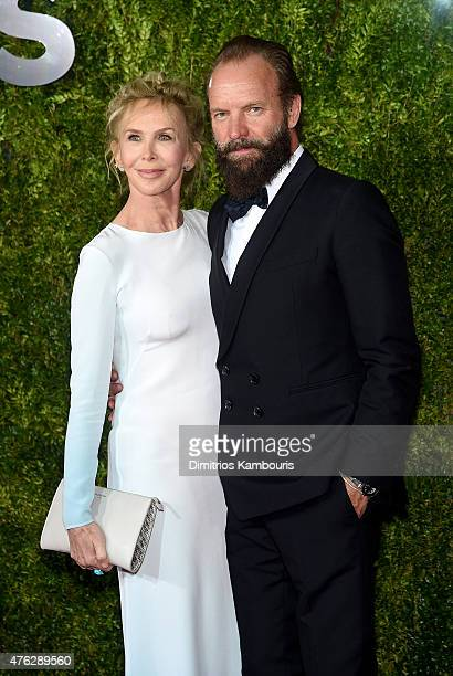 Sting and Trudie Styler attend the 2015 Tony Awards at Radio City Music Hall on June 7 2015 in New York City