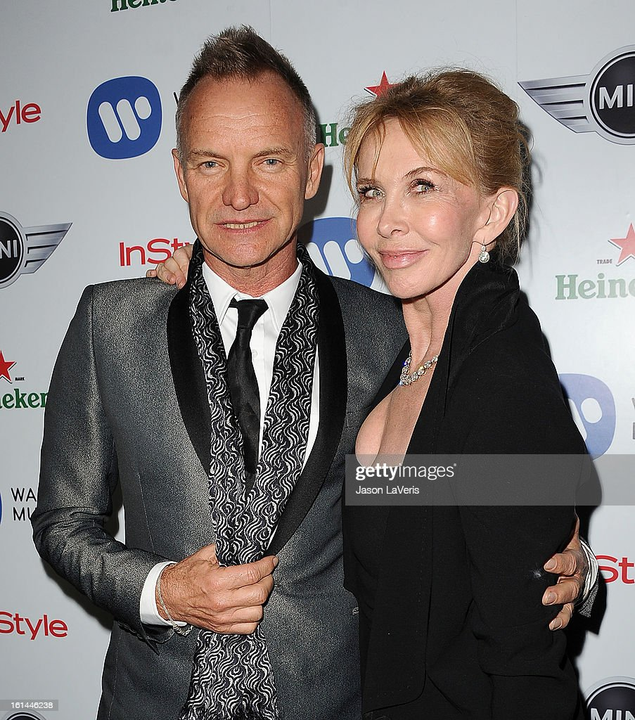 Sting and Trudie Styler attend the Warner Music Group 2013 Grammy celebration at Chateau Marmont on February 10, 2013 in Los Angeles, California.