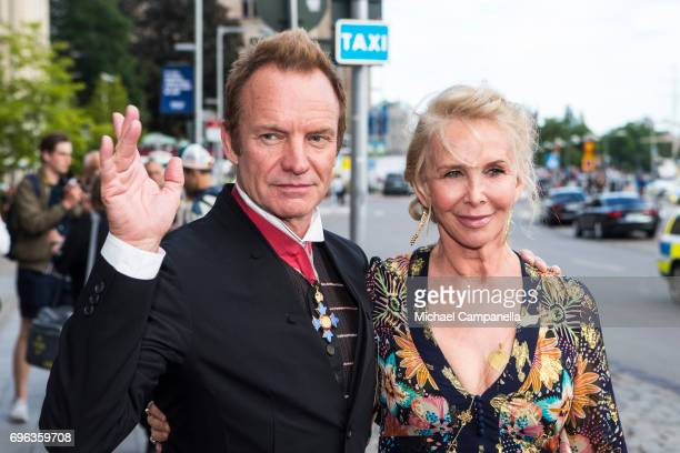 Sting and wife Trudie Styler attend a formal dinner at Grand Hotel after attending an award ceremony for the Polar Music Prize at Konserthuset on...