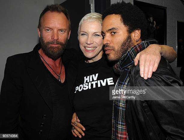 *EXCLUSIVE* Sting Annie Lennox and Lenny Kravitz attend the 25th Anniversary Rock Roll Hall of Fame Concert at Madison Square Garden on October 30...