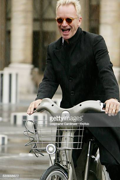 """Sting arriving by Paris Bicycle """"Velib"""" at the Ministry of Culture in Paris. The music band """"The Police"""" is honored as """"Chevalier des Arts et des..."""