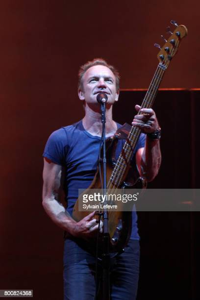 Sting as he performs on the main stage during day 2 of the North Summer Festival at Pierre Mauroy Stadium on June 25 2017 in Lille France