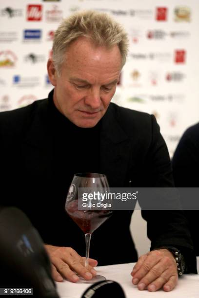 Sting attends Benvenuto Brunello 2018 at Teatro degli Astrusi on February 17 2018 in Montalcino Italy