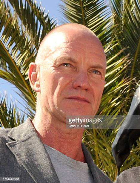 Sting attends the dedication ceremony of Herb Alpert's 17 foottall Totem Sculpture 'Freedom' at La Costa Mission Restaurant on February 14 2014 in...